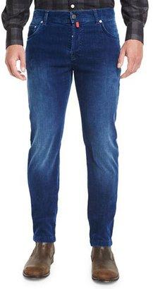 Kiton Medium Wash Denim Corduroy Jeans, Blue $995 thestylecure.com
