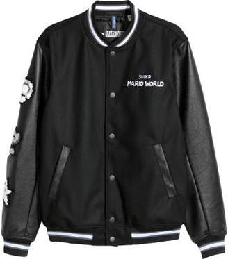 H&M Baseball Jacket with Appliques - Black