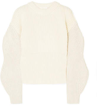 Chloé Ribbed-knit Wool And Silk-blend Sweater - Ivory