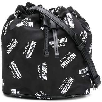 Moschino all over logo bucket bag