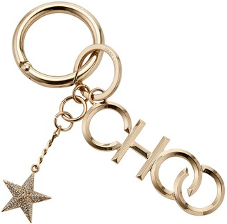 Jimmy Choo CHOO/KR Gold Metal and Crystal Star Keyring