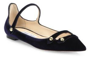 Jimmy Choo Layton Strappy Velvet Point-Toe Flats $795 thestylecure.com