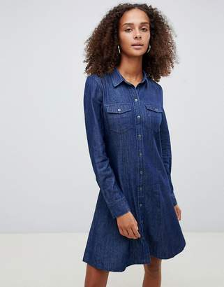 Only button through denim mini shirt dress