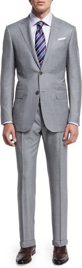 Ermenegildo Zegna Sharkskin Two-Piece Trofeo® Wool Suit, Light Gray 7