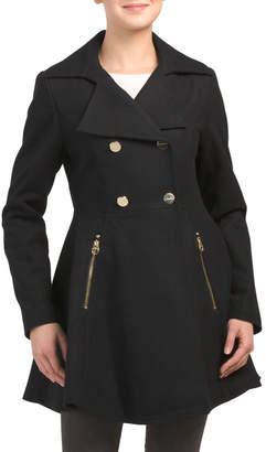 Wool Blend Fit And Flare Coat