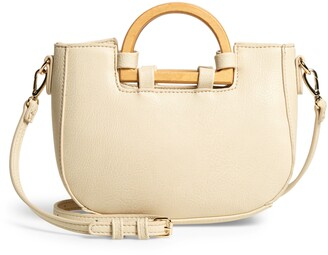 Sole Society Ardel Wooden Top Handle Faux Leather Bag