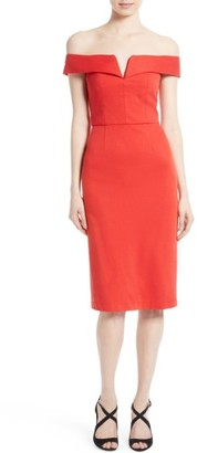 Women's Alice + Olivia Sienna Off The Shoulder Sheath Dress $330 thestylecure.com