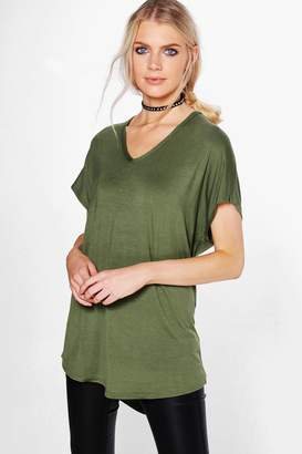 boohoo Basic Oversized V Neck T-Shirt
