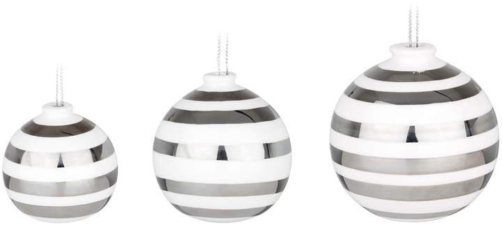Kähler Design - Omaggio Christbaumkugeln, Silber (3er-Set)