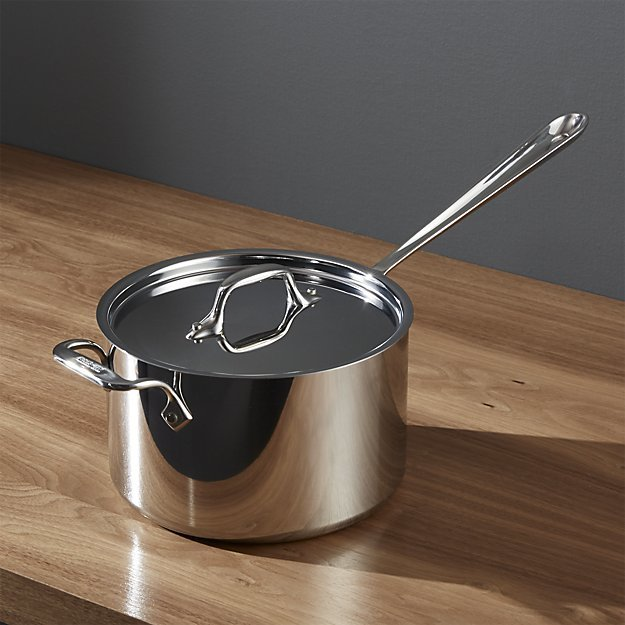Crate & Barrel All-Clad ® Stainless 4 qt. Saucepan with Lid