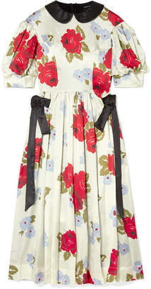 Simone Rocha Paneled Floral-print Silk-satin Midi Dress - Cream