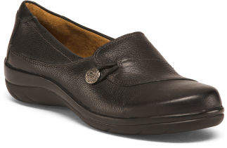 Side Button Comfort Leather Loafers
