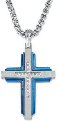 "Esquire Men's Jewelry Diamond Cross 22"" Pendant Necklace (1/10 ct. t.w.) in Stainless Steel & Ion-Plate"
