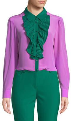 Escada Pleated Ruffle Bib Button-Front Long-Sleeve Silk Blouse