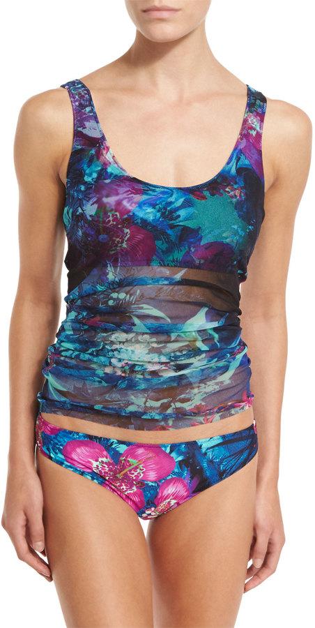Fuzzi Tropical-Print Two-Piece Tankini Swimsuit, Turquoise 4