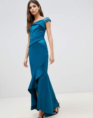 Lipsy bardot satin maxi dress with asymmetric hem in teal