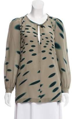 Sonia Rykiel Silk Printed Long Sleeve Top