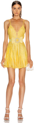 Raisa&Vanessa RAISA&VANESSA Strass Embellished V Neck Mini Dress in Yellow | FWRD