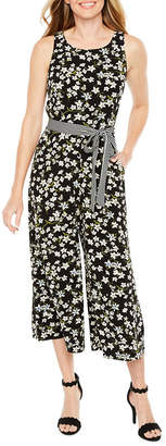 Danny & Nicole Sleeveless Floral Belted Jumpsuit