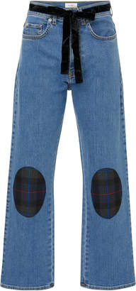 Isa Arfen Belted Patchwork-effect Mid-Rise Straight-Leg Jeans