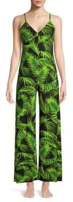 Norma Kamali Wide-Leg Palm Leaf Jumpsuit