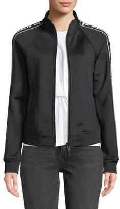 Alexander Wang Sleek French Terry Shrunken Logo Track Jacket