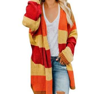 Alimao Womens Fashion Patchwork Long Sleeve Fashion Cardigan Tops Sweater Coat