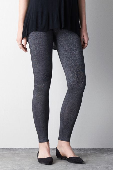 American Eagle Outfitters Grey Shimmer Legging, Womens Medium