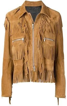 Diesel Black Gold split suede jacket with fringes
