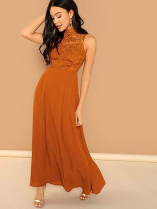 Shein Guipure Lace Bodice Sleeveless Solid Maxi Dress