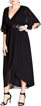 City Chic Sequin Wrap Maxi Dress
