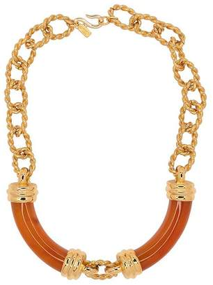 Kenneth Jay Lane Gold And Amber Link Tube Necklace