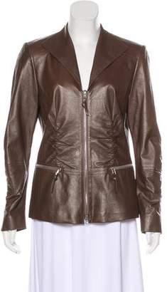 Lafayette 148 Leather Metallic Jacket
