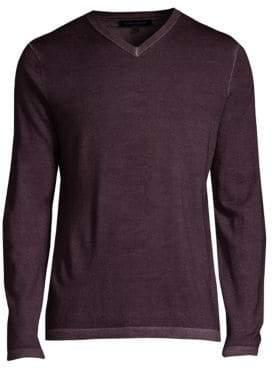 Patrick Assaraf Regular-Fit Magic Wash Wool V-Neck Sweater
