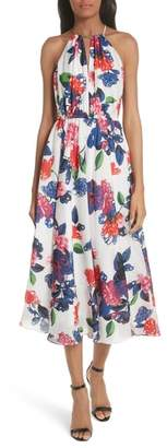 Milly Floral Print Double Keyhole Silk Dress