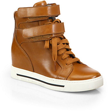 Marc by Marc Jacobs Leather Lace-Up Wedge Sneakers