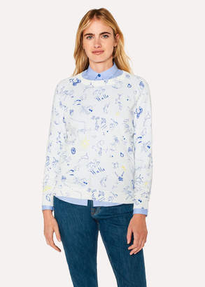 Paul Smith Women's White Cotton Sweater With 'Paul's Sketchbook' Print