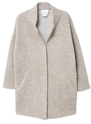 MANGO Textured cocoon coat