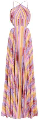 AMUR Janet Rainbow Stripe Pleated Gown