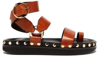 Isabel Marant Nirvy Stud Embellished Leather Sandals - Womens - Tan