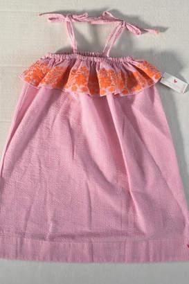 Pink Chicken Embroidered Seersucker Dress