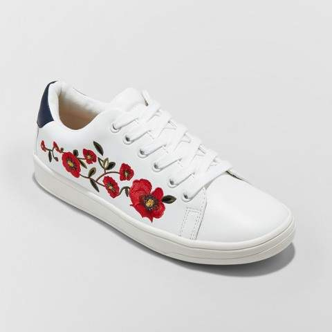 A New Day Women's Bebe Lace Up Embroidered Sneakers - A New Day White