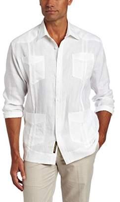 Cubavera Men's Long Sleeve 100% Linen Cuban Guayabera Shirt