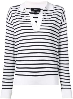 Theory striped V-neck jumper