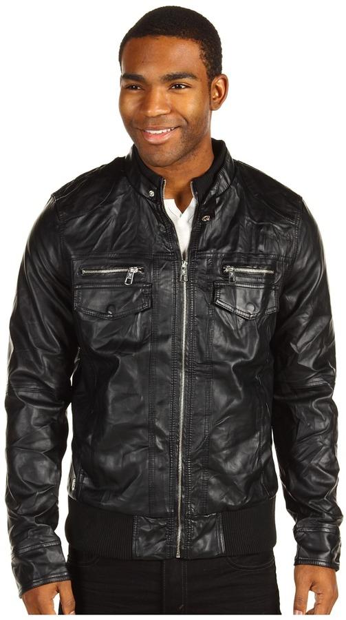 Ecko Unlimited Washed Faux Leather Moto Jacket (Black) - Apparel