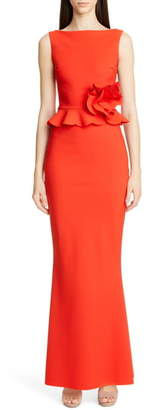 Chiara Boni Side Ruffle Evening Dress