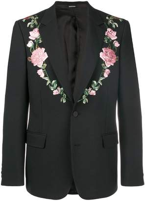 Alexander McQueen floral embroidered suit jacket