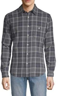 7 For All Mankind Brushed Plaid Cotton Button-Down Shirt