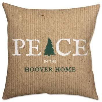 Peace Tree Poplin Square Throw Pillow in Burlap