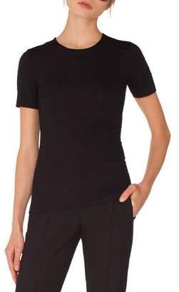 Akris Punto Crewneck Short-Sleeve Studded Jersey Shirt